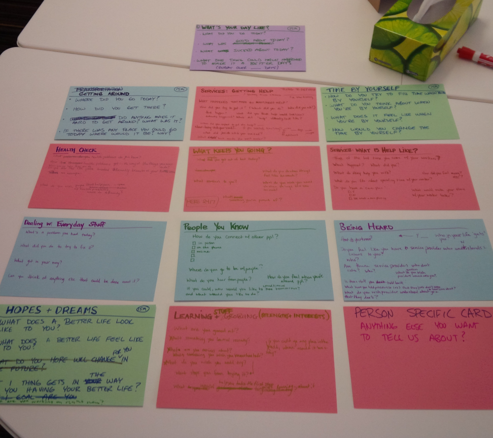 Some of the areas we're interested in learning about participants. As you can see...it is a work in progress as we try and find language that works best for our participants.