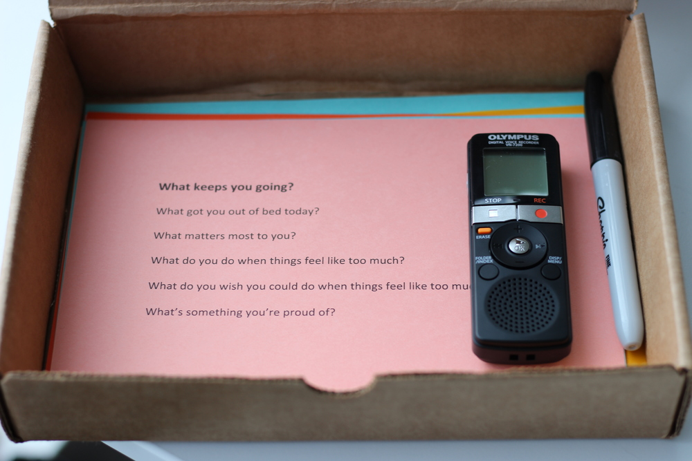 A sample engagement kit for a participant. What's included: Voice recorder, question cards, instructions on using the voice recorder, and a sharpie to check off questions when they are done.