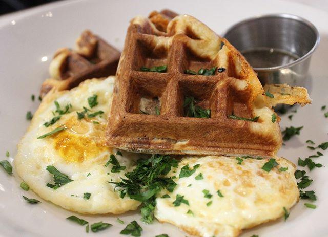 Stuffed Brioche Waffle — housemade bacon, cheddar, + fried eggs. #BrunchAtBrassica  #brassicakitchen #jamaicaplain #orangeline #brunch #sundaybrunch #brunchesofboston #brioche #waffles #bacon #eggs #bosfeed