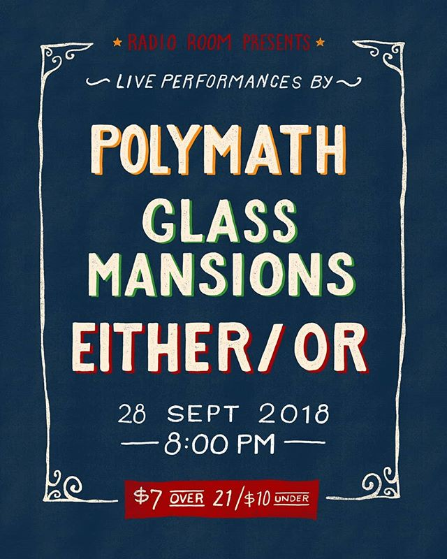 🎶🤘We are just two weeks (+ a day) out from this epic show with @glassmansions and brand new local band (and friends of ours) @eitherorband! Get ready for some fresh bangers and a seriously fun night. . . . Beautiful poster design by the very talented @brettwilbanksdesignco