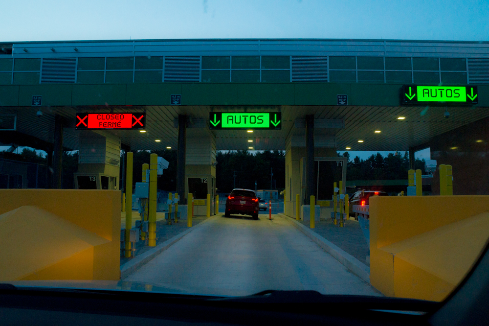 Going through customs at the USA/Canada border.