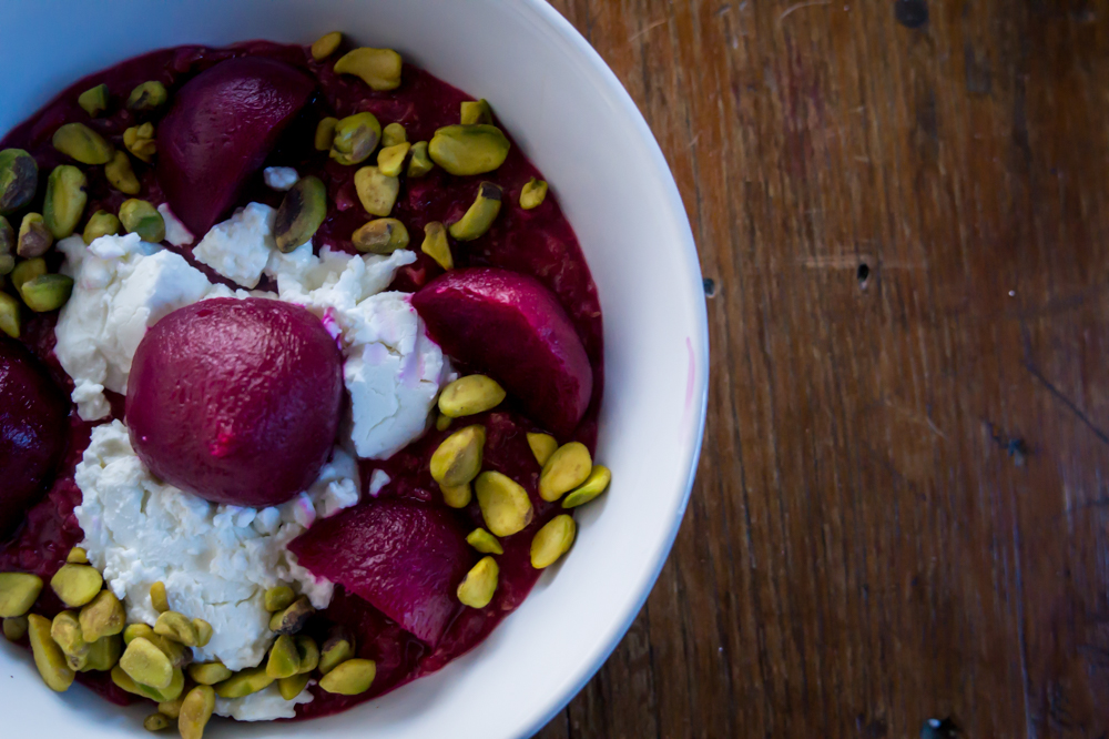 Beet Oats topped with beets, goat cheese, and pistachios!