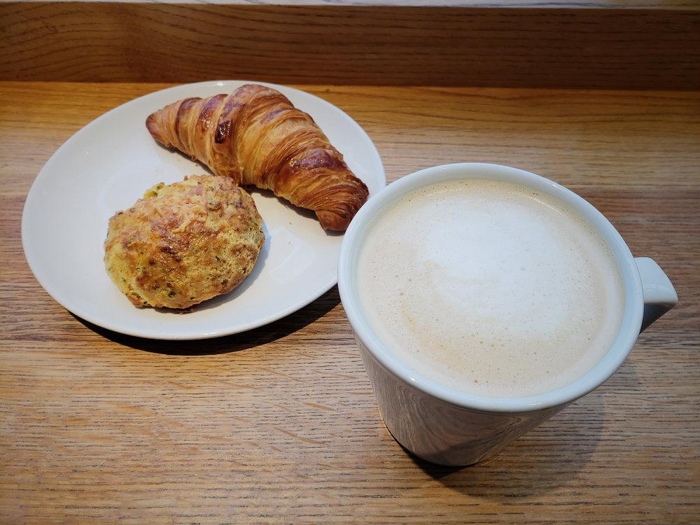 Latte + Parmesan+Chive scone