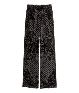 silk blend velvet pants - black