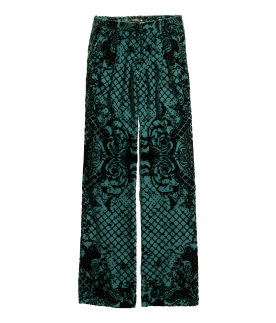 silk blend velvet pants - dark green