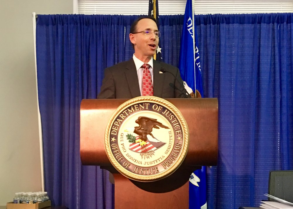 Deputy Attorney General Rod J. Rosenstein at R2C Third Annual Meeting; Photo Credit: NACDL staff