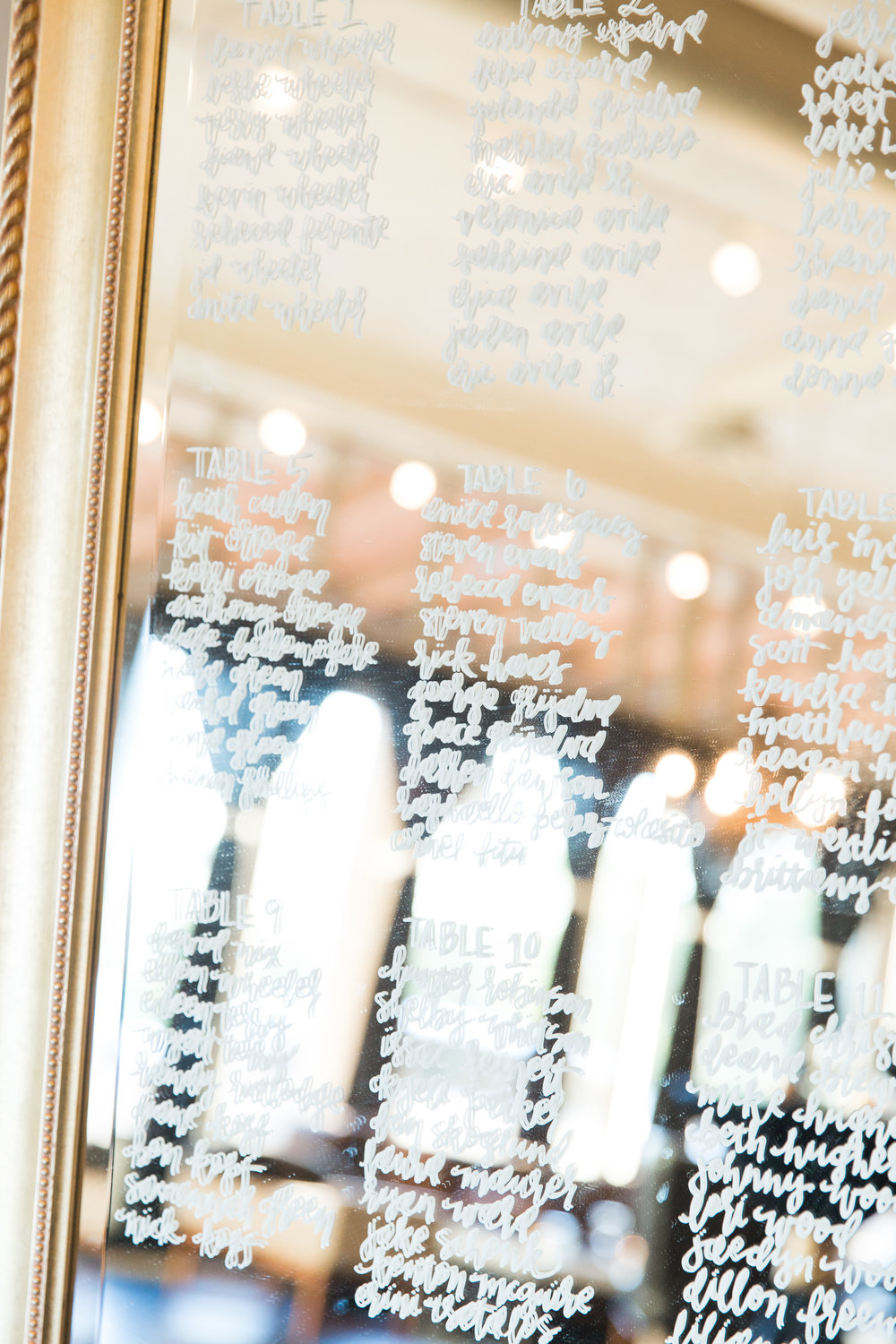 mirror calligraphy seating chart by Tenn Letters