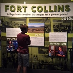 "McCrann studies clean energy display at the Lemelson ""Places of Invention"" exhibit in the Smithsonian"