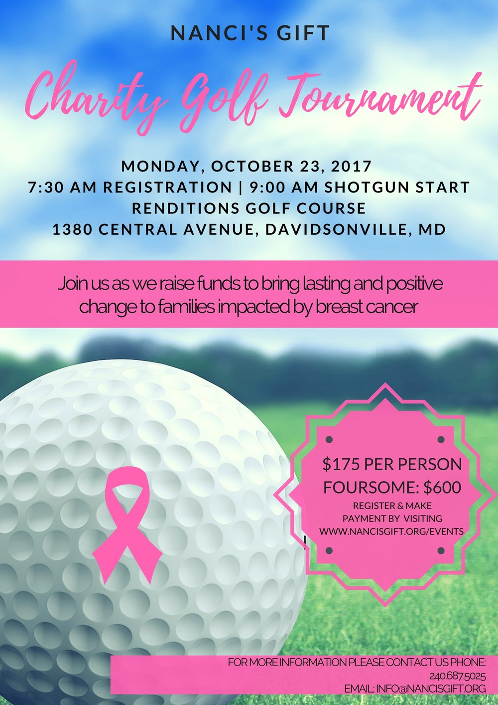Registration includes 18 holes of golf, golf cart, green fees, welcome bag, lunch, and dinner. Special thanks to Greene Turtle, Pusser's Caribbean Restaurant, and Buck Distributing!