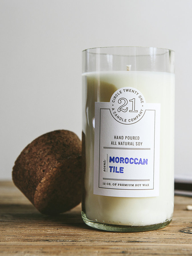 Circle 21 Moroccan Tile Candle, $25