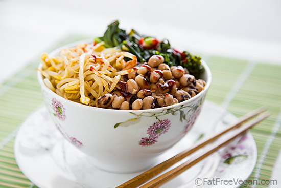 Korean Inspired Black-Eyed Peas and Kale Bowl
