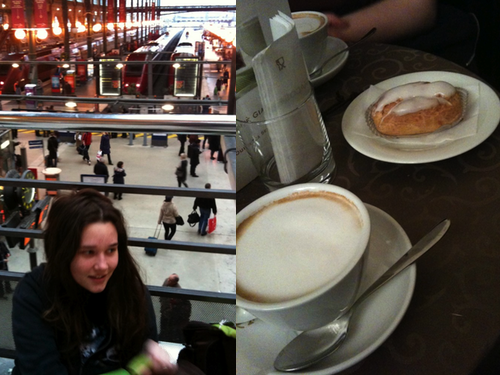 At the London Train Station. Also, a tasty Cappuccino.