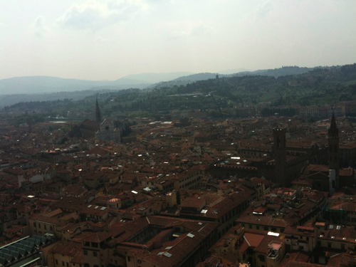On the top of the Duomo, the largest church in Florence.