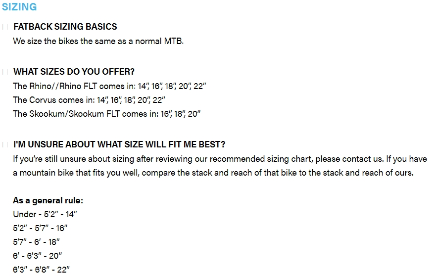 Fatback Bikes sizing chart - Stack and Reach