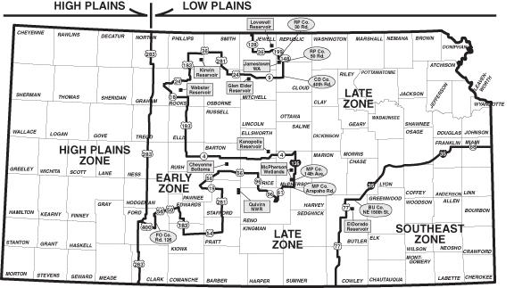 Kansas Waterfowl Zones Map