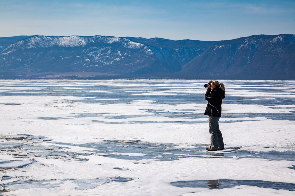 Marisa Marulli (on frozen Lake Baikal, Siberia)