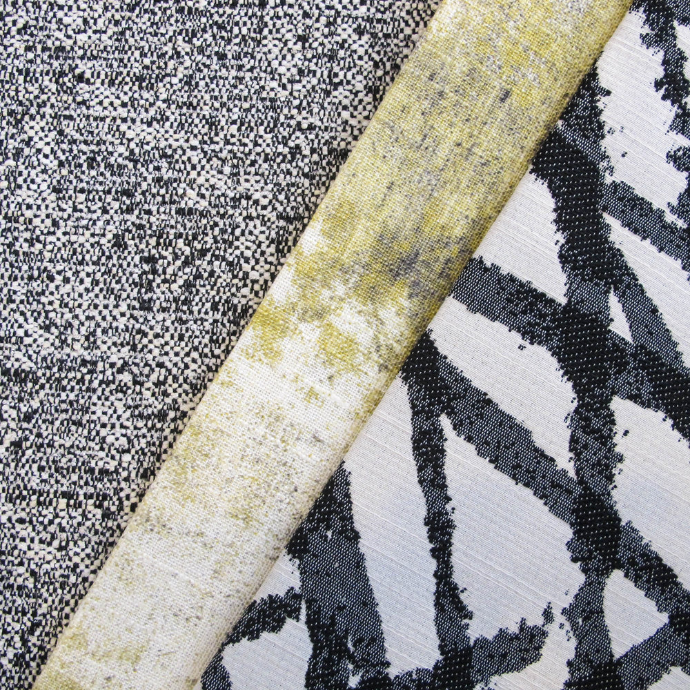 This fabric story celebrates contrasts, mixing a smudged print with a crisp yet energetic black and white graphic.