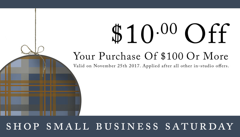 Get $10 off your purchase of $100 or more at MakeNest this Small Business Saturday - November 25th, 2017.