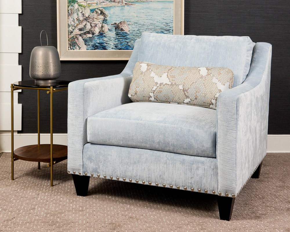 Icy blue with dark and glamorous accents make this effortlessly transitional style.