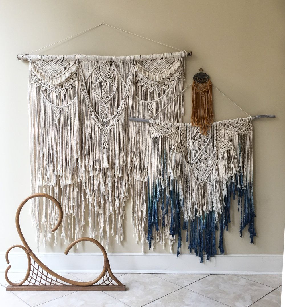 Layered macrame fiber art from Fiber Feels' Leah, a local Winchester, VA artist.