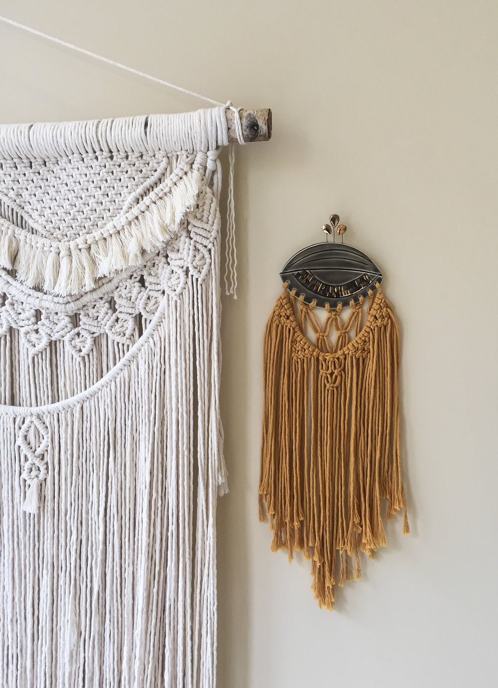Fiber Feels : Natural and dyed macrame fiber art with a ceramicist collaboration.