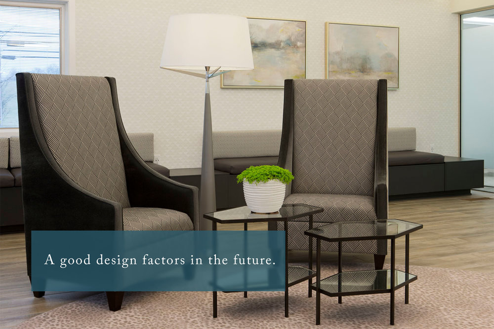 """A good design factors in the future."" Lobby, Winchester Oral Surgery Center, Photo: Matthew Lofton"