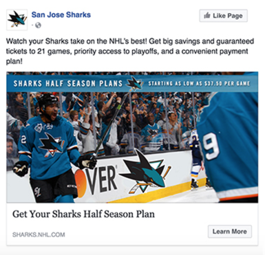 The San Jose Sharks Facebook Ad
