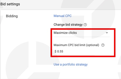 Google Shopping bid strategy: example of m aximize clicks bidding strategy.