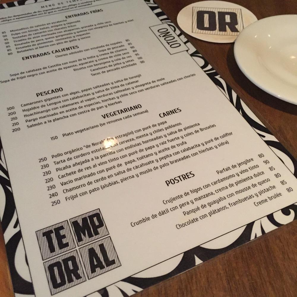 Temporal menu