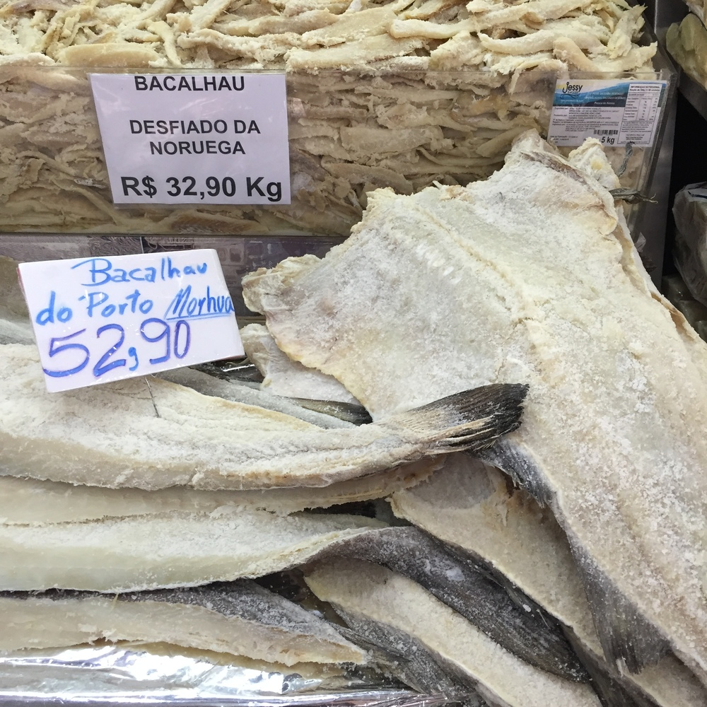 The Brazilian staple, bacalhau (dried and salted cod)