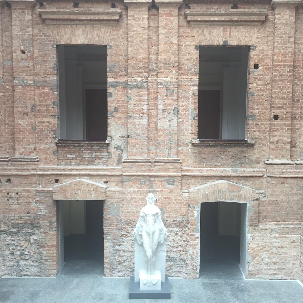 Open air courtyard, bad ass sculpture