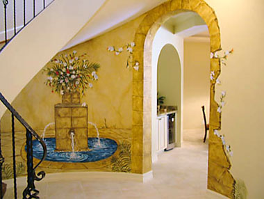Naples Foyer Faux Stone Arch Design
