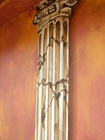 Column Painted on Exterior Balcony Wall