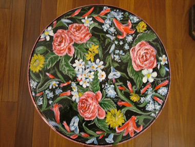 Painted Flowers On Table Stand