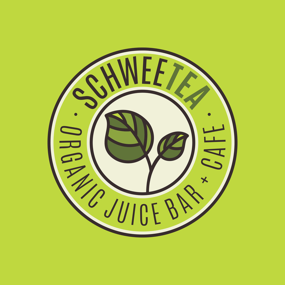 SCHWEE TEA - EMBLEM LOGO DESIGNORGANIC JUICE BAR & CAFEREBRANDED AS