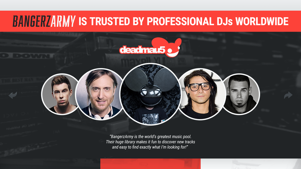 INTERACTIVE & ANIMATED WEB PAGES - VISITORS CAN BROWSE & INTERACT WITH AN ANIMATED SLIDE FEATuRING FEEDBACK FROM THEIR FAVORITE PROFESSIONAL DJs, MUSICIANS, LABELS & ARTISTS