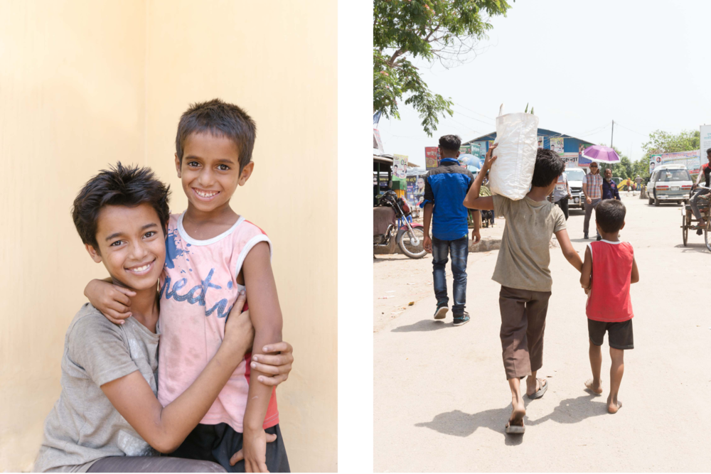 Babu and Sabir, two brothers we met in Chila while visiting a group of porter boys. During our visit, Babu never let go of Sabir's hand and piggy-backed his younger brother from the bus station all the way to our shoot location.