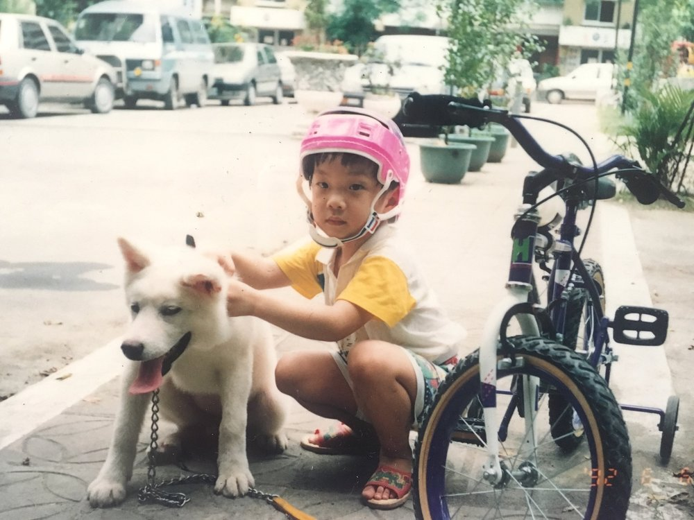 My first dog Akita Lisa + brother | Shot on film in Taiwan, 1992