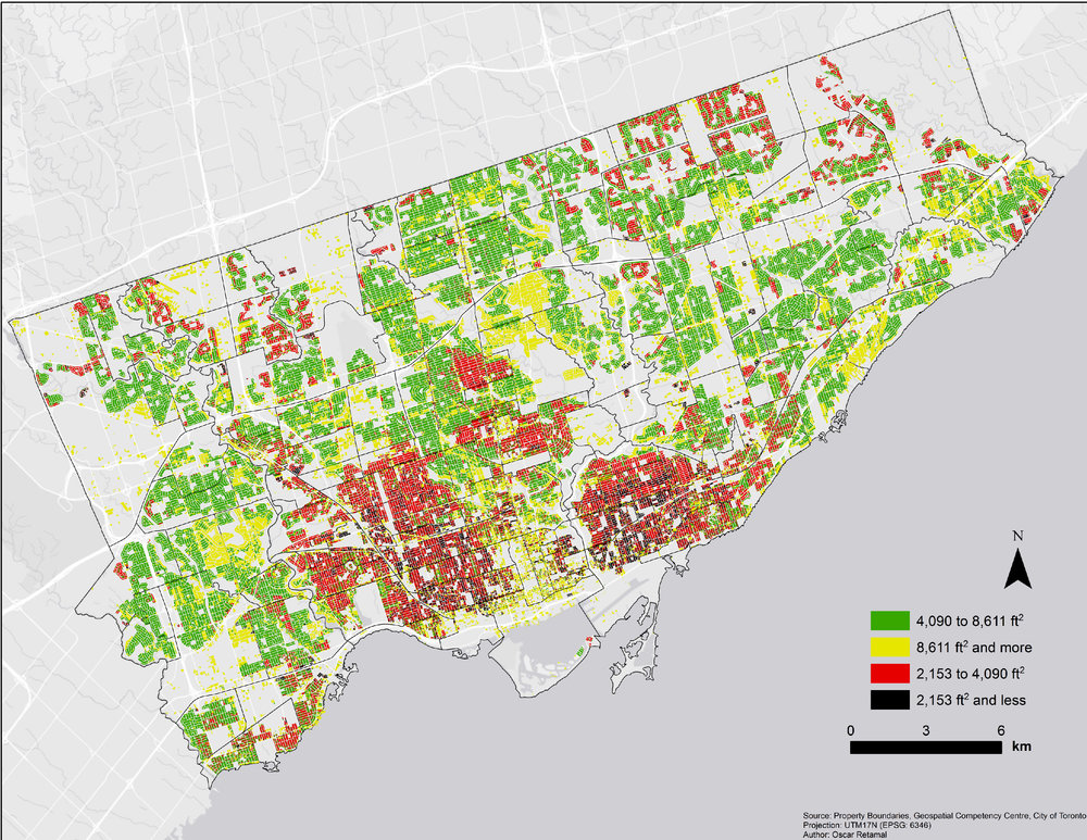 The map above shows the square feet of all the individual lots in the city of Toronto.