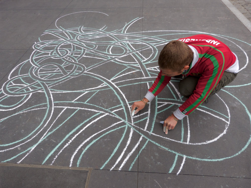 Sidewalk Chalk Painting Commission, South Street Seaport Revival, 2013