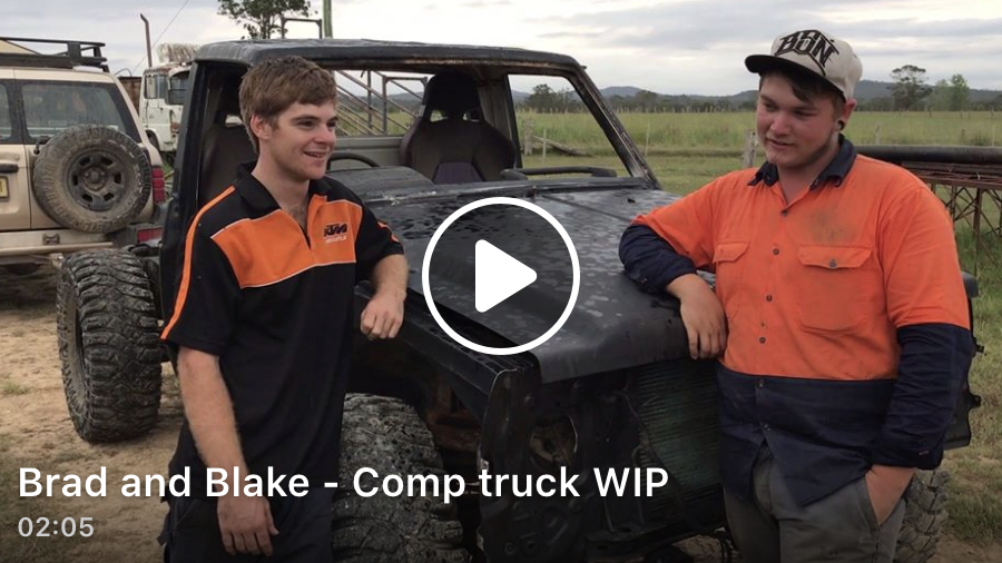 The boy's from Kempsey - Brad and Blake, give us a quick run down on their work-in-progress. A 1990 GQ - which they're keen to get up to speed as a comp truck. We've been following the progress of these blokes for a while and they're keen to get your feedback