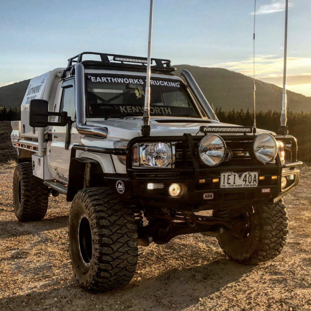 SHANE @WOODEND   Shane says:  2008 v8 landcruiser  Coil all round  8 inch lift  36x15.5 mtz's  All the other usual bits and pieces   TEXT: M SHANE