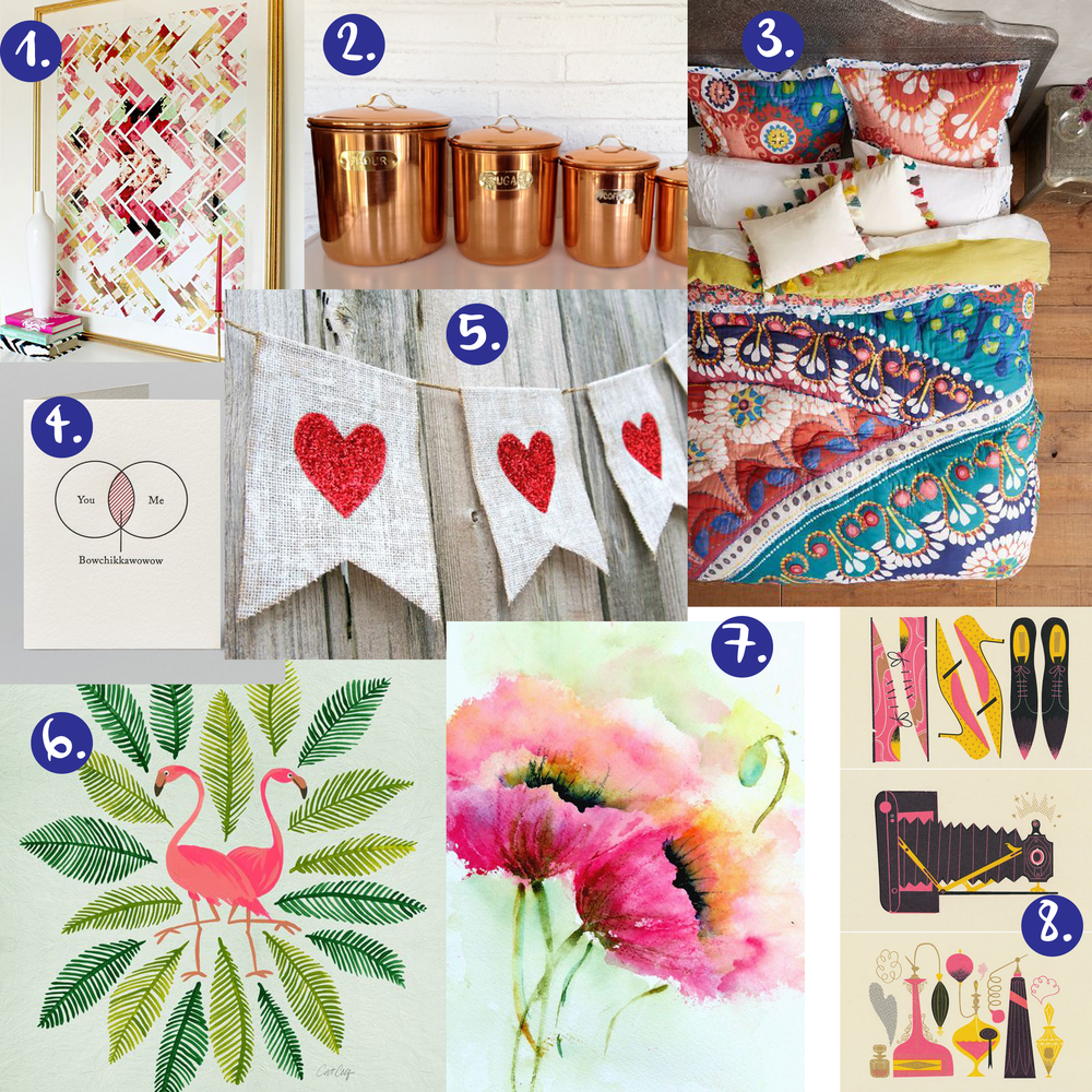 1. herringbone print   2. copper canisters   3. anthro quilt   4. valentines day card   5. burlap banner diy   6. flamingo illustration   7. poppy watercolor   8. mid-century mod illustration