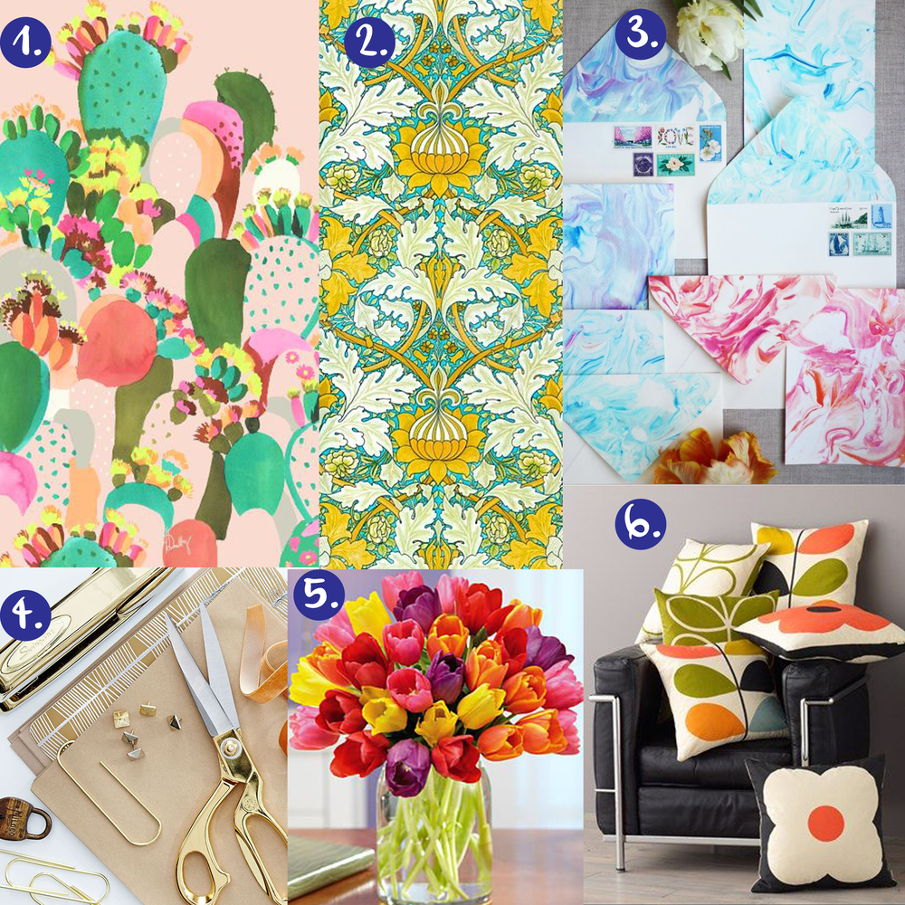 1. cactus painting   2. William Morris pattern   3. marbled stationary   4. gold desk accessories   5. colorful tulips   6. Orla Kiely pillows