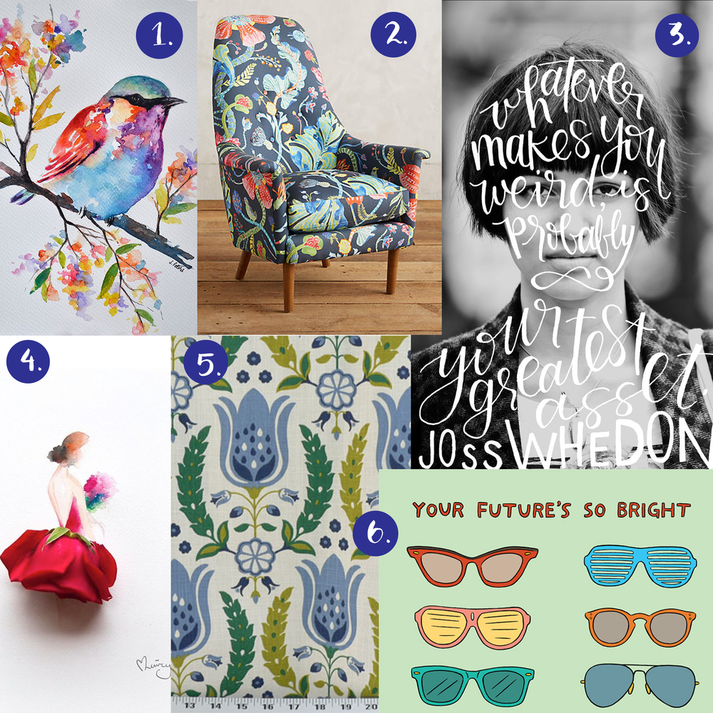 1. watercolor bird   2. anthro chair   3. silhouette hand lettering   4. love limzy flower dress art   5. retro fabric   6. laura szumowski greeting card