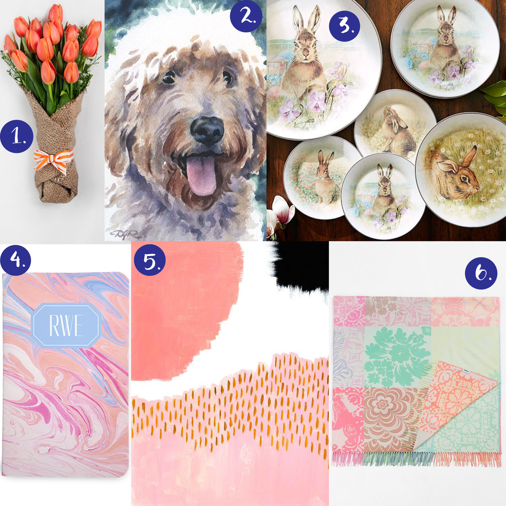 1. tulip bouquet   2. goldendoodle painting   3. rabbit dinnerware   4. marbled notebook   5. abstract painting   6. pastel blanket