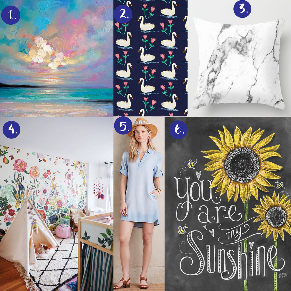 1. beach painting   2. swan fabric   3. marble pillow   4. floral wallpape r  5. Anthro chambray dress   6. Lily & Val print