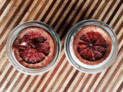 blood orange cheesecake topped with crystallized blood orange slices