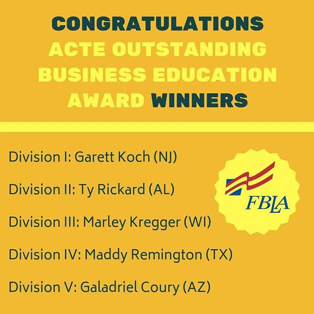 FBLA is proud to sweep the ACTE awards for yet another year! Join us in congratulating the winners that are traveling to the ACTE conference in San Antonio, Texas today!