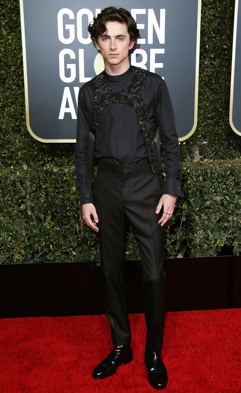 Timotheé Chalamet in Louis Vuitton with Cartier accessories,